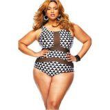 Plus Size Mesh Insert Trigon Print Teddy Swimsuit