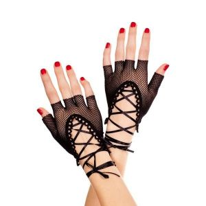 Короткие черные рукавички с открытыми пальчиками - Перчатки