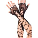Long black gloves lace-up