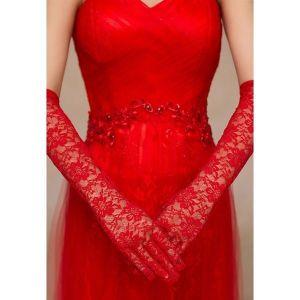 Длинные красные перчатки - Перчатки