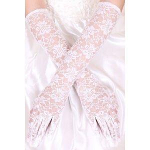 Long white gloves for special events. Артикул: IXI42461