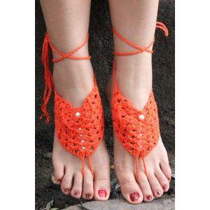 Anklet orange knitted