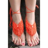 Anklet orange knitted