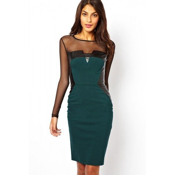 Green Midi Dress with PU and Mesh Inserts