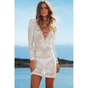 Белая вязаная пляжная туника - Пляжная одежда