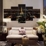Modular picture of 5 pieces, night city, 180С…100