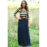 Striped Print And Navy Jersey Maxi Dress