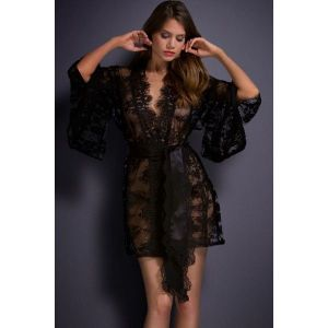 Кружевной халатик черного цвета - Халаты, пижамы