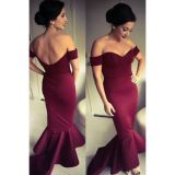 Maroon Off-shoulder Mermaid Jersey Evening Dress