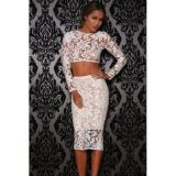 White Long Sleeve Floral Lace Midi Skirt Set