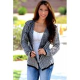 Women Casual Collarless Long Sleeve Black Knitted Cardigan