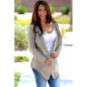 Women Casual Collarless Long Sleeve Khaki Knitted Cardigan. Артикул: IXI43270