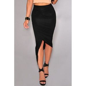 Black Asymmetrical Draped Skirt. Артикул: IXI43274