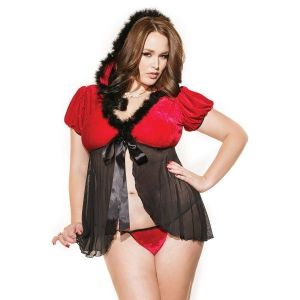 Black Plus Fur Trim Mesh Splice Hooded Santa Babydoll Set - * Большие размеры
