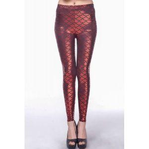 Red metallic leggings