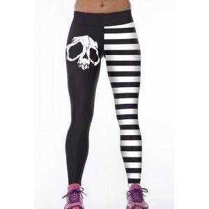 Черно-белые леггинсы с черепом - Спортивная одежда