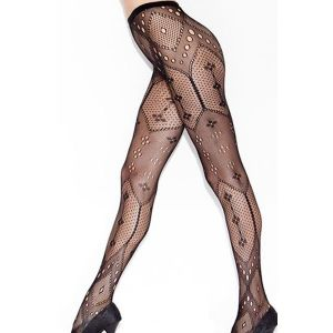 Black tights with geometric pattern