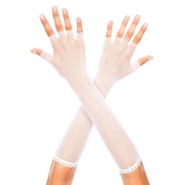 Ажурные женские длинные перчатки белые