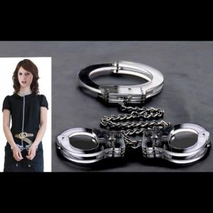 The cuffs and collar on a chain