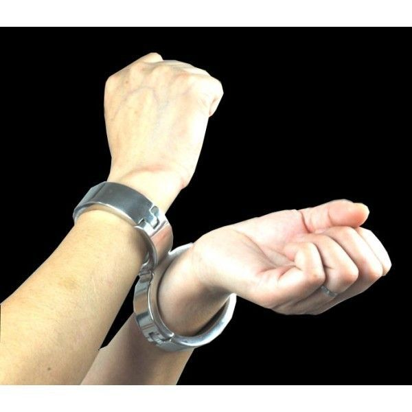 Stainless Steel Cross Fixed Bondage Handcuffs With Allen Driver & Screw