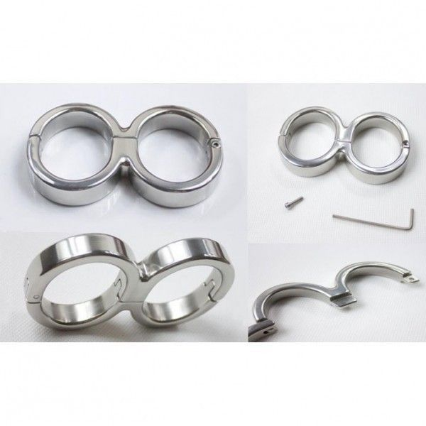 Allen-8 Darby Style Stainless Steel Single Hinge Bondage Handcuffs With Allen Driver & Screw