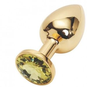 Gold butt plug with yellow crystal, medium