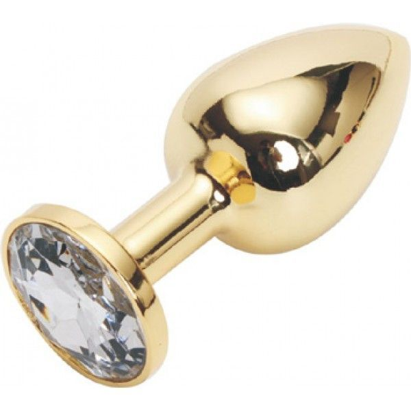 Золотая анальная пробка с прозрачным кристаллом, средняя