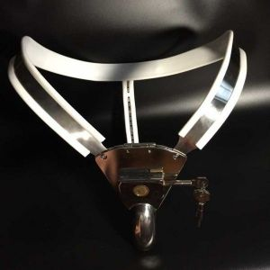 Male Fully Adjustable Model-T Stainless Steel Chastity Belt with hole Cage Cover White