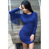 Navy Fringed Long Sleeves Faux Suede Mini Dress