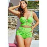 Green Wrap Underwire high Waist Plus Size Bikini