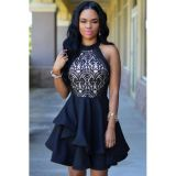 Black Lace Nude Irregular Layered Skater Dress