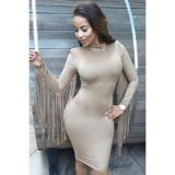 Khaki Suede Fringed Long Sleeves High Neck Midi Dress