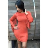 Orange Fringed Long Sleeves Faux Suede Mini Dress