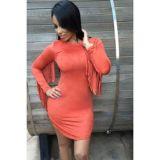 Orange Fringed Long Sleeves Faux Suede Mini Dress