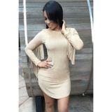 Beige Fringed Long Sleeves Faux Suede Mini Dress