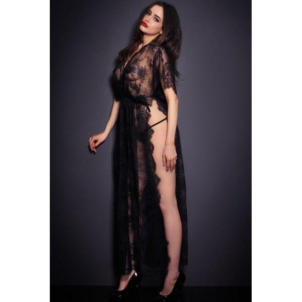 Black Sheer Lace Kaftan Robe with Thong