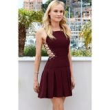 Cool Lace Up Pleated Suede Skater Dress