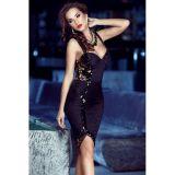 Black Sequin Embellished Sweetheart Midi Dress