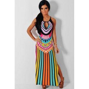 Bright Multicolor Keyhole Detail Maxi Print Dress. Артикул: IXI44445