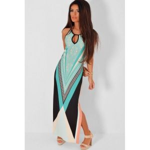 Blue Multicolor Side Split Maxi Print Dress. Артикул: IXI44448