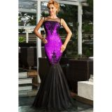 Purple Sequin Applique Evening Party Mermaid Dress