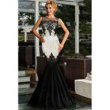 Silver Sequin Applique Evening Party Mermaid Dress