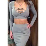 Grey Two Pieces Crisscross Bust Skirt Set