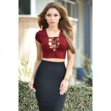 Red Lace Up Front Faux Suede Crop Top