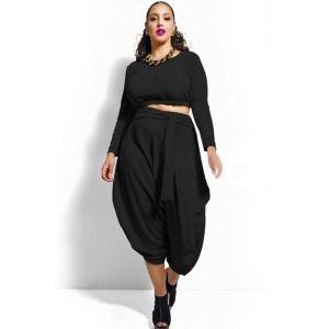 Black Plus Size Crop Top Draped Convertible Pants Set. Артикул: IXI44570
