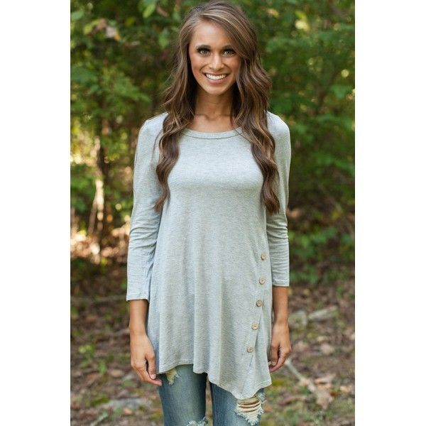 Grey Side Button Tunic