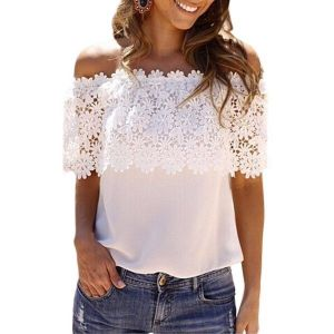 T-shirt with lace. Артикул: IXI44657