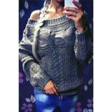 Grey Chic Boat Neck Long Sleeve Chunky Sweater
