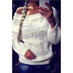 White Chic Boat Neck Long Sleeve Chunky Sweater. Артикул: IXI44662