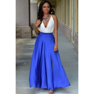 Royalblue Slit Luxe Maxi Skirt. Артикул: IXI44696